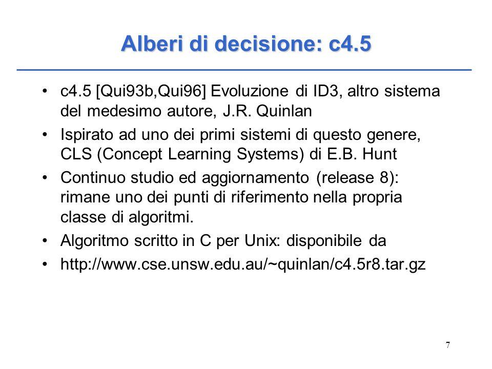 Alberi di decisione: c4.5c4.5 [Qui93b,Qui96] Evoluzione di ID3, altro sistema del medesimo autore, J.R. Quinlan.